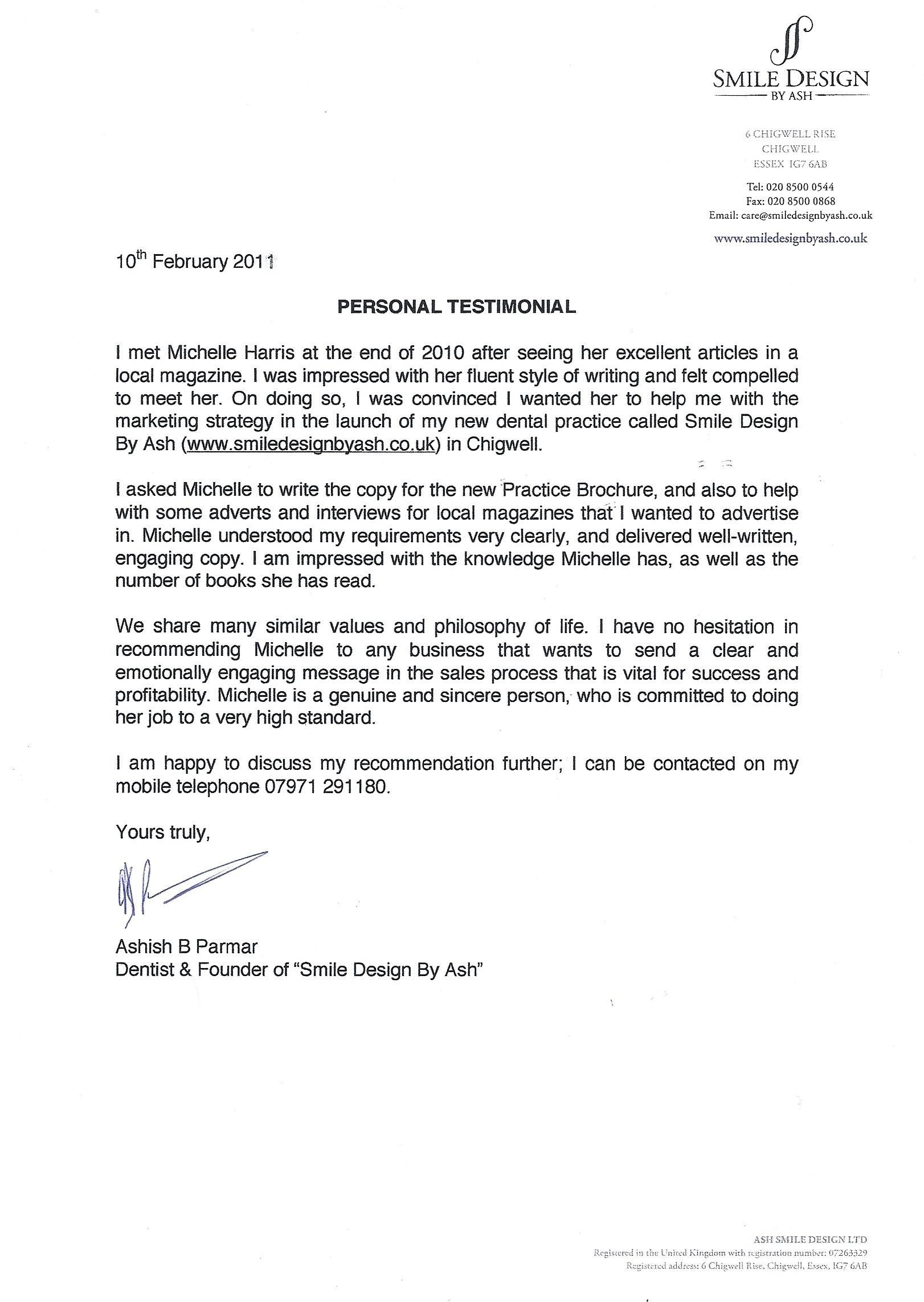 Testimonials star copywriting michelle harris ash parmar testimonial february 20112 thecheapjerseys Images